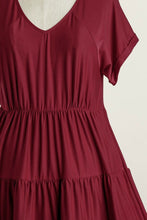 Load image into Gallery viewer, Umgee Wine Tiered Dress