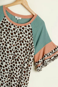 Umgee Leopard Print Top in Sage Mix with Frayed Trim