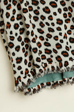 Load image into Gallery viewer, Umgee Leopard Print Top in Sage Mix with Frayed Trim