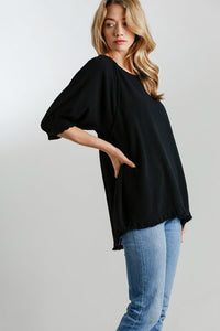 Umgee Black Linen Blend Top with Balloon Sleeves and Frayed Hem
