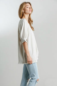 Umgee Oatmeal Linen Blend Top with Balloon Sleeves and Frayed Hem