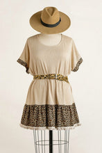 Load image into Gallery viewer, Umgee Oatmeal Short Sleeve Tunic with Animal Print Trim