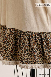 Umgee Oatmeal Short Sleeve Tunic with Animal Print Trim