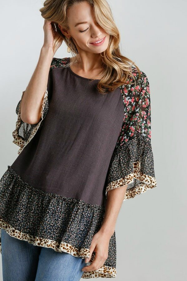 Umgee Ash Mixed Print Top with Animal Print Trim