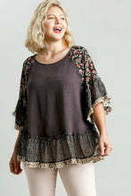 Load image into Gallery viewer, Umgee Ash Mixed Print Top with Animal Print Trim