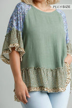 Load image into Gallery viewer, Umgee Sage Mixed Print Top with Animal Print Trim