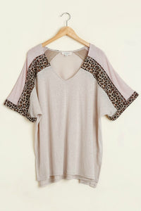 Umgee Oatmeal and Animal Print Casual Top