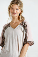 Load image into Gallery viewer, Umgee Oatmeal and Animal Print Casual Top