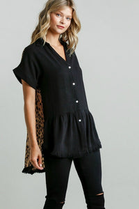 Umgee Black Button Down Tunic with Animal Print Back