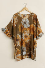 Load image into Gallery viewer, Umgee Toffee Floral Print Tunic with Ruffled Sleeves