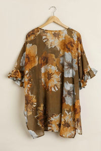 Umgee Toffee Floral Print Tunic with Ruffled Sleeves