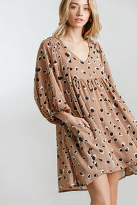 Umgee Taupe Animal Print Babydoll Dress