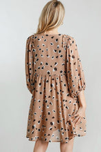 Load image into Gallery viewer, Umgee Taupe Animal Print Babydoll Dress