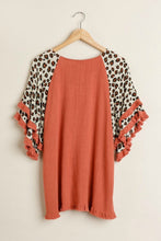 Load image into Gallery viewer, Umgee Red Clay Top with Animal Print Layered Sleeves