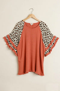 Umgee Red Clay Top with Animal Print Layered Sleeves