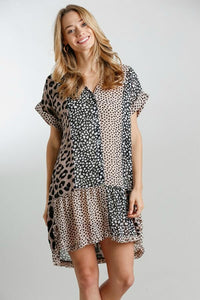 Umgee Mocha and Black Mixed Animal Print Dress