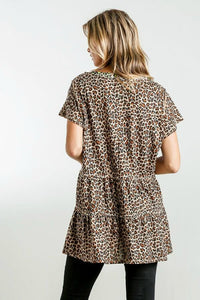 Umgee Animal Print Tunic with Lime and Metallic Details