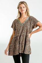 Load image into Gallery viewer, Umgee Animal Print Tunic with Lime and Metallic Details