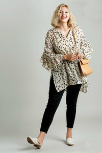 Umgee Latte Sheer Animal Print Tunic