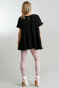 Umgee Black Tiered Top