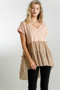 Umgee Dusty Peach Top with Polka Dot Tiered Ruffle Hem