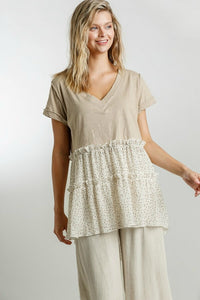 Umgee Latte Top with Polka Dot Tiered Ruffle Hem