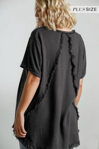 Umgee Ash Top with Fishtail Frayed Hem