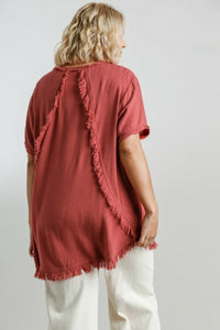 Umgee Red Clay Top with Fishtail Frayed Hem