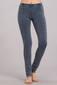 Blue Gray Mineral Washed Leggings - June Adel