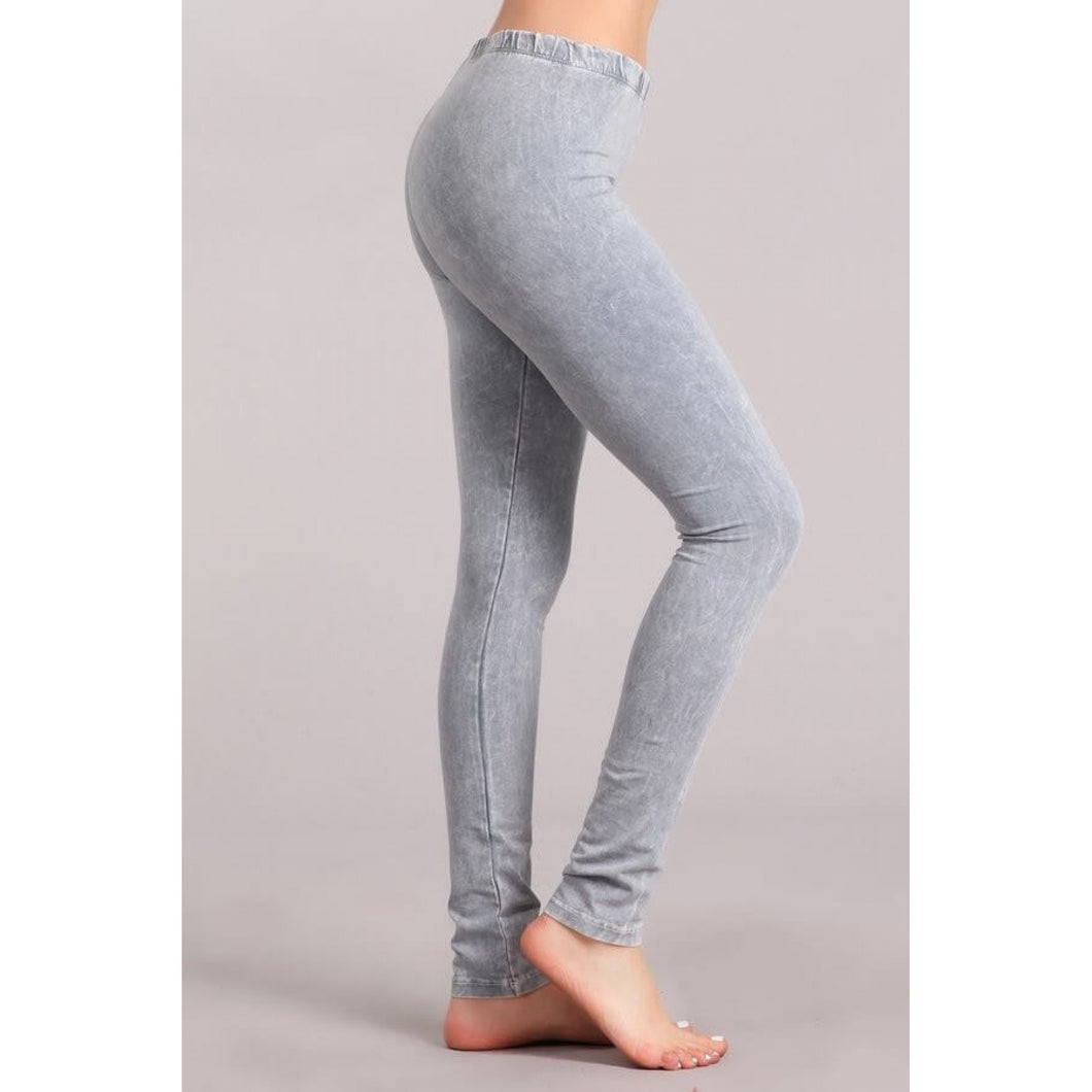 Silver Mineral Washed Leggings - June Adel