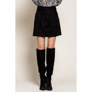 Black Faux Suede Belted Mini Skirt - June Adel