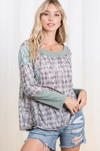 Color Block Printed Top in Charcoal and Sage