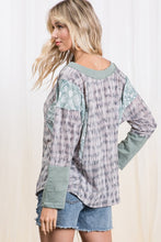 Load image into Gallery viewer, Color Block Printed Top in Charcoal and Sage