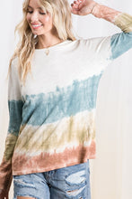 Load image into Gallery viewer, Teal, Olive, and Rust Tie Dye Print Top