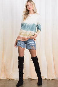 Teal, Olive, and Rust Tie Dye Print Top