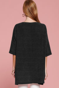 Black Chenille Tunic Top with Front Pockets
