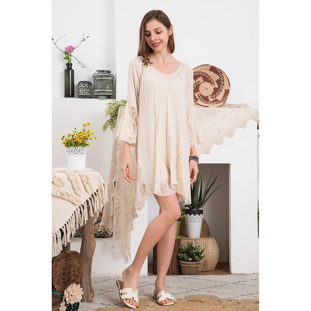 Beige Tunic Top with Mixed Lace and Ruffle Details - June Adel