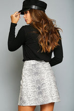 Load image into Gallery viewer, Snake Print Charcoal Denim Skirt with Zip Front - June Adel
