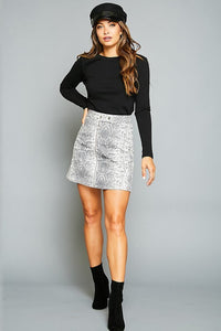 Snake Print Charcoal Denim Skirt with Zip Front - June Adel