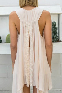 Blush Sleeveless Tunic Top with Tassel and Back Slit - June Adel