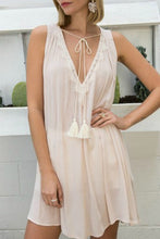 Load image into Gallery viewer, Blush Sleeveless Tunic Top with Tassel and Back Slit - June Adel