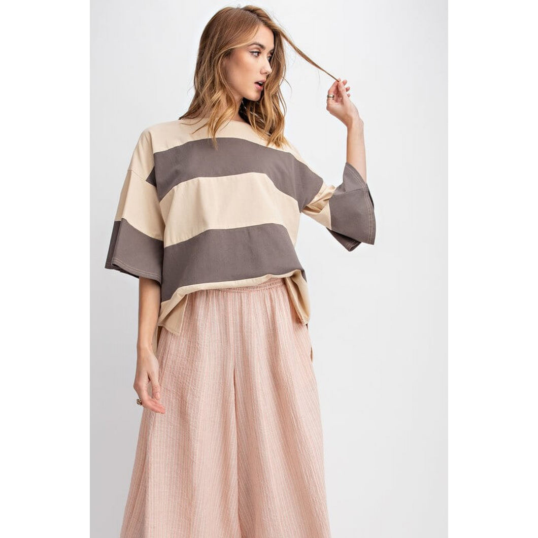 Ash Gray and Beige Color Block Boxy Top - June Adel