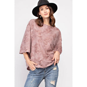 Distressed Boxy Tee in Mauve - June Adel