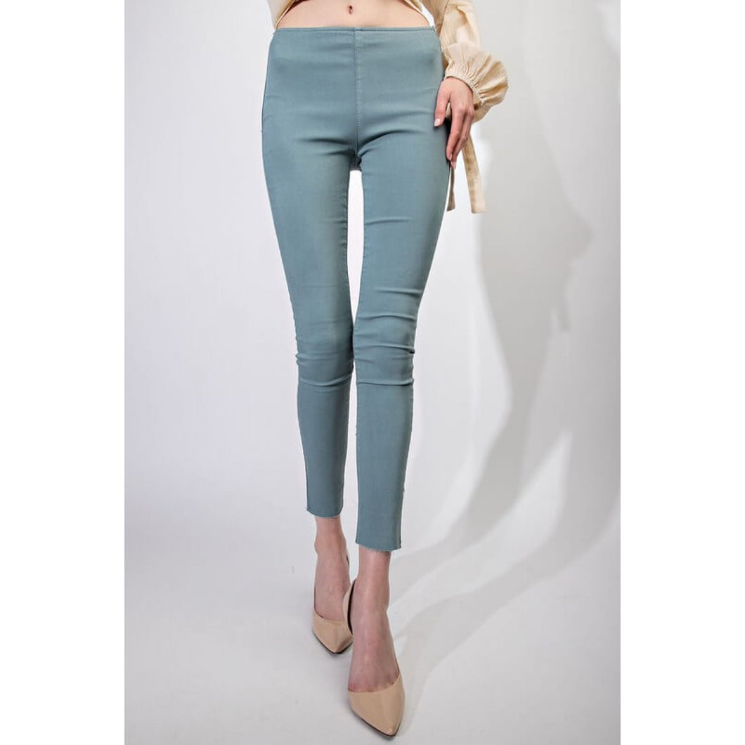 Washed Denim Jeggings in Wormwood - June Adel