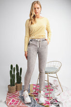Load image into Gallery viewer, Black Washed Denim Pants with Elastic Waistband - June Adel