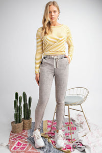 Black Washed Denim Pants with Elastic Waistband - June Adel
