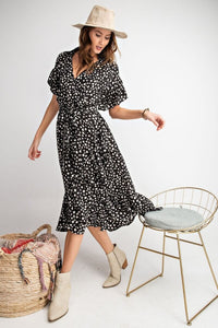 Animal Print Ruffle Midi Dress in Black by Easel - June Adel