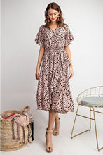 Load image into Gallery viewer, Animal Print Ruffle Midi Dress in Mauve by Easel - June Adel