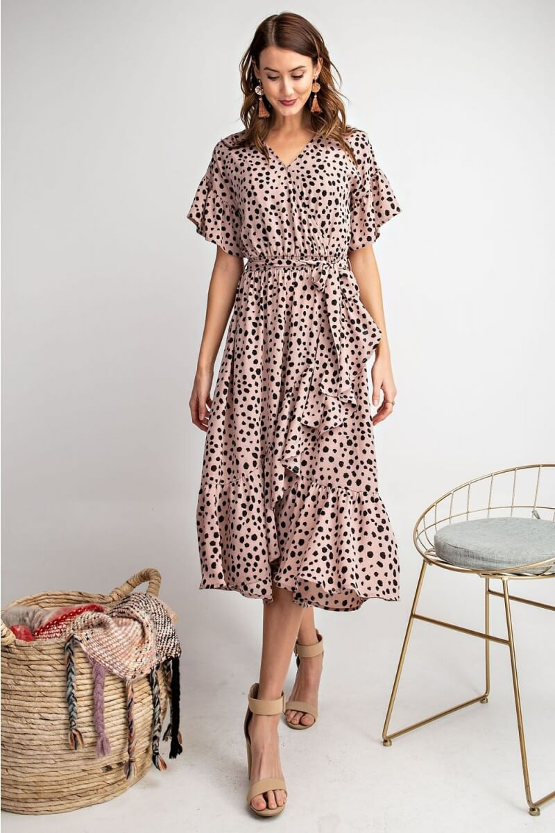 Animal Print Ruffle Midi Dress in Mauve by Easel - June Adel