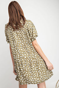 Easel Faded Olive Heart Print Dress - June Adel